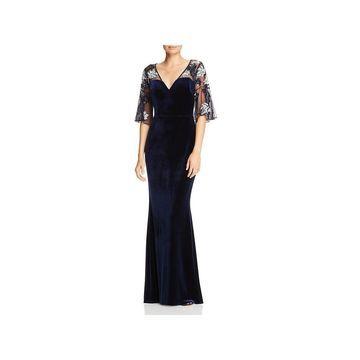 Aidan Mattox Womens Evening Dress Velvet Sequined