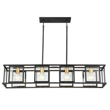 Filament Design Payne 4-Light Island Pendant Light in Black