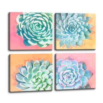 Ready2HangArt 'Awakened' Wrapped Canvas Succulent Wall Art Set