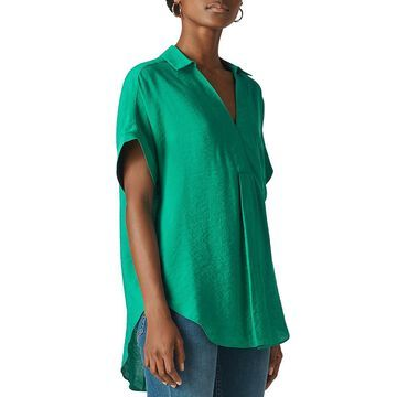 Whistles Womens Lea Smocked Collared Top