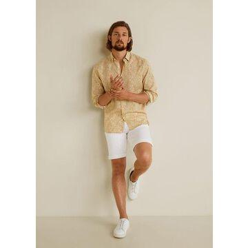 MANGO MAN - Hawaiian print shirt beige - S - Men