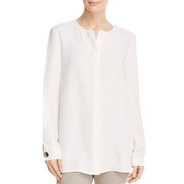 Lafayette 148 New York Womens Rowan Silk Split Sleeves Blouse
