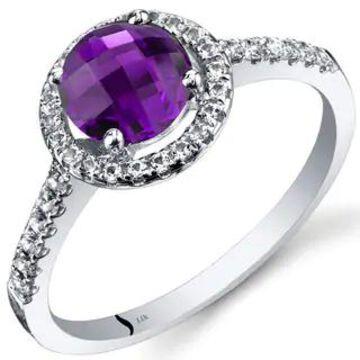 Oravo 14k White Gold Checkerboard Gemstone Halo Ring (1 ct Amethyst Size 9)