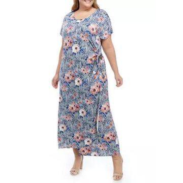 Ronni Nicole Women's Plus Size Short Sleeve Floral Snake Midi Dress - -