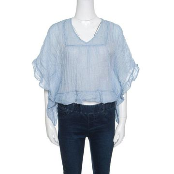 See By Chloe Blue and White Crinkled Cotton Ruffled Trim Top S