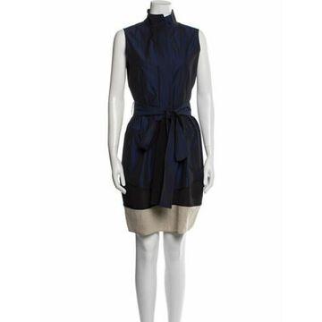 Colorblock Pattern Mini Dress Blue