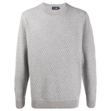 diamond-knit crew neck sweater