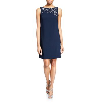 Bateau-Neck Sleeveless Crepe Shift Dress w/ Floral Beaded Detail