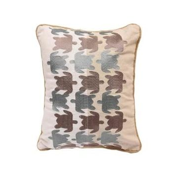 HiEnd Accents Turtle Embroidered Linen Pillow Bedding