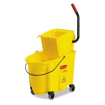 Rubbermaid Commercial Wavebrake 35 Quart Bucket/Wringer Combinations Yellow