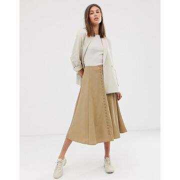Weekday midi A-line skirt in beige