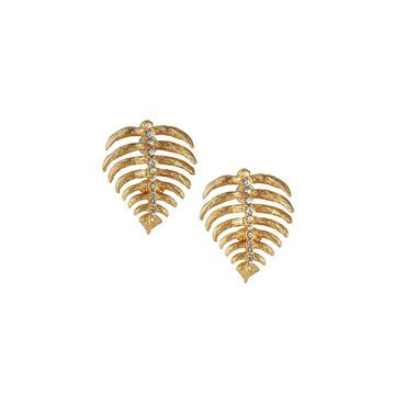 Satin Crystal Leaf Earrings