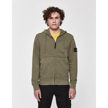 Garment Dyed Logo Patch Hoodie in Olive