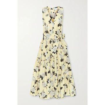 Erdem - Mimosa Belted Floral-print Cotton-twill Midi Dress - Pastel yellow