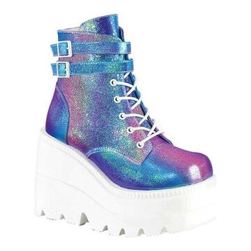 Demonia Women's Shaker 52 Ankle Boot Purple Multi Iridescent Vegan Leather