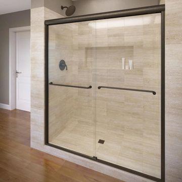 Basco Celesta 44-in to 48-in W Semi-frameless Oil Rubbed Bronze Bypass/Sliding Shower Door