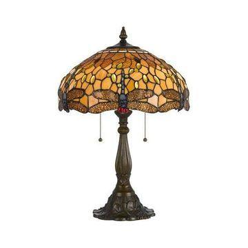 Cal Lighting BO-2372TB Tiffany 2 Light Pedestal Base Table Lamp