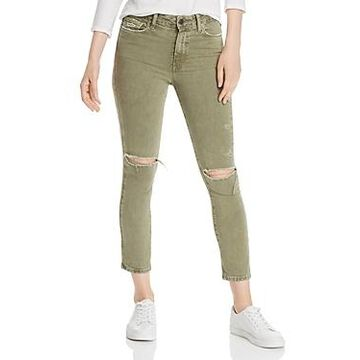 Paige Hoxton Slim Crop Destructed Jeans in Vintage Green Springs