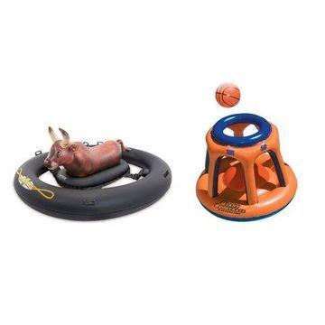 Intex Inflatabull Inflatable Swimming Pool Float & Swimline Basketball Hoop Toy