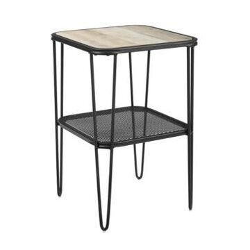 Walker Edison Mid Century Modern Side Table with Hairpin Metal and Mesh