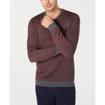 Tasso Elba Men's Merino Wool Blend V-Neck Herringbone Sweater, Created for Macy's