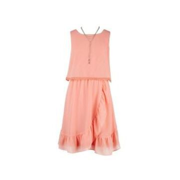 Big Girls Pop Over Ruffle Lace Trim Dress with Necklace