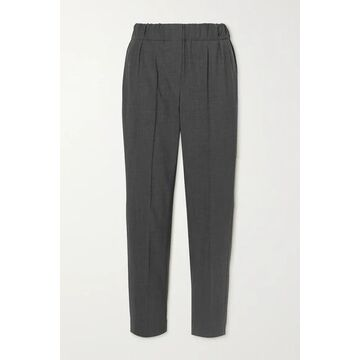 Brunello Cucinelli - Cropped Wool-blend Straight-leg Pants - Charcoal