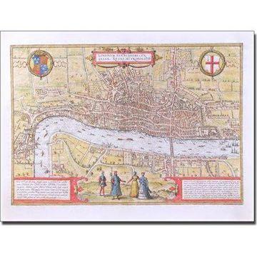 Trademark Art 'Map of London c. 1572' Canvas