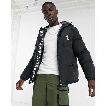 Religion reversible puffer jacket in black