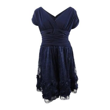 SL Fashions Women's Plus Size Rosette Fit & Flare Dress - Navy