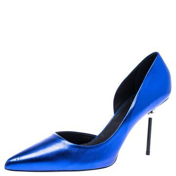 Roger Vivier Blue Foil Leather Pointed Toe Pumps Size 40