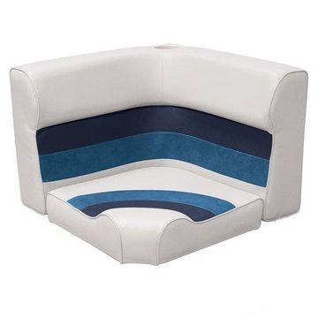 Wise 8WD133-1008 Deluxe Series Pontoon Radius Corner Lounge Seat and Backrest Cushion Set, White/Navy/Blue