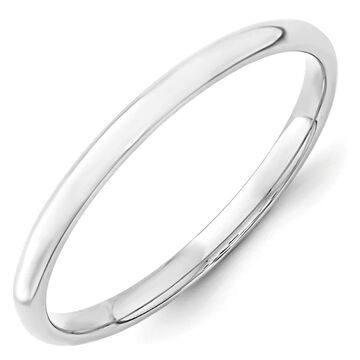 14K White Gold 2mm Polished Lightweight Comfort Fit Band by Versil