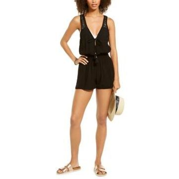 Becca Poetic Lace Solid Romper Cover-Up Women's Swimsuit