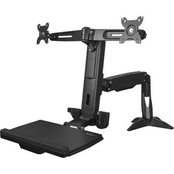 Startech Sit Stand Dual Monitor Arm - For Two Monitors up to 24in - Dual Monitor Mount - Sit Stand Workstation - Height Adjustable - 24