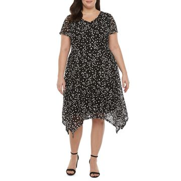 Ronni Nicole-Plus Short Sleeve Dots Midi Fit & Flare Dress