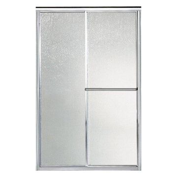 Sterling Deluxe Sliding Shower Door, Silver with Rain Glass Texture
