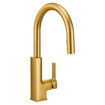 Moen STo Brushed Gold 1-Handle Deck-Mount Pull-Down Handle Kitchen Faucet   S72308BG