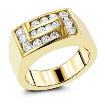 Mens Diamond Ring in 18K Gold Geometric Band 1ctw G-H Color VS1-VS2 Clarity by Luxurman