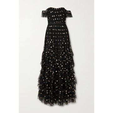 Marchesa Notte - Off-the-shoulder Ruffled Polka-dot Sequined Tulle Gown - Black