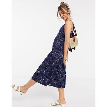 QED London frill hem midi dress in navy floral