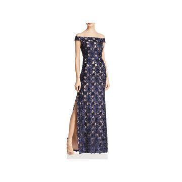 Aidan Mattox Womens Evening Dress Embellished Off-The-Shoulder