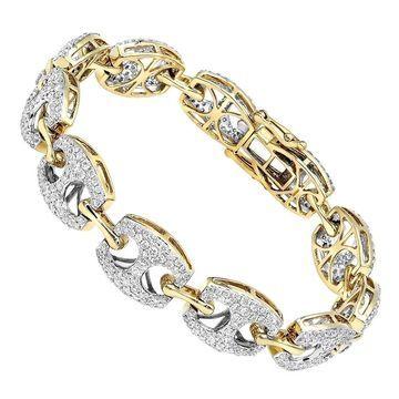 14k Gold Mariner Link Diamond Bracelet for Ladies 5 Carat by Luxurman