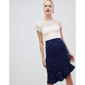 Vesper lace pencil dress with flippy hem in multi