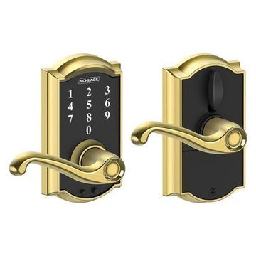 Schlage FE695-CAM-FLA Camelot Touch Entry Leverset, Bright Brass