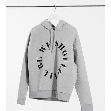 Reclaimed Vintage inspired unisex quilted hoodie with logo in gray-Grey