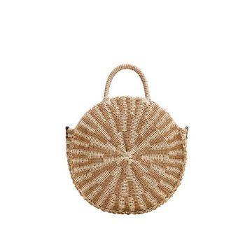 Violeta BY MANGO - Rouded straw bag ecru - One size - Plus sizes
