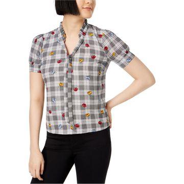 maison Jules Womens Ruffled Collar Knit Blouse
