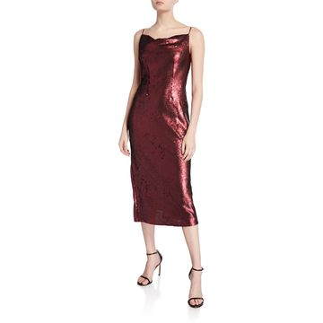 No Signs Sequin Cowl-Neck Midi Dress