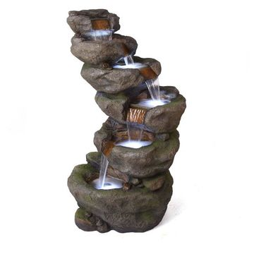 Alpine 6-Tier Waterfall Outdoor Fountain with LED Light